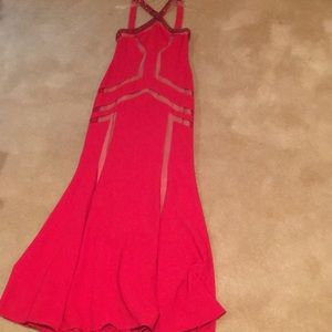 JS Collections Red mermaid style Gown